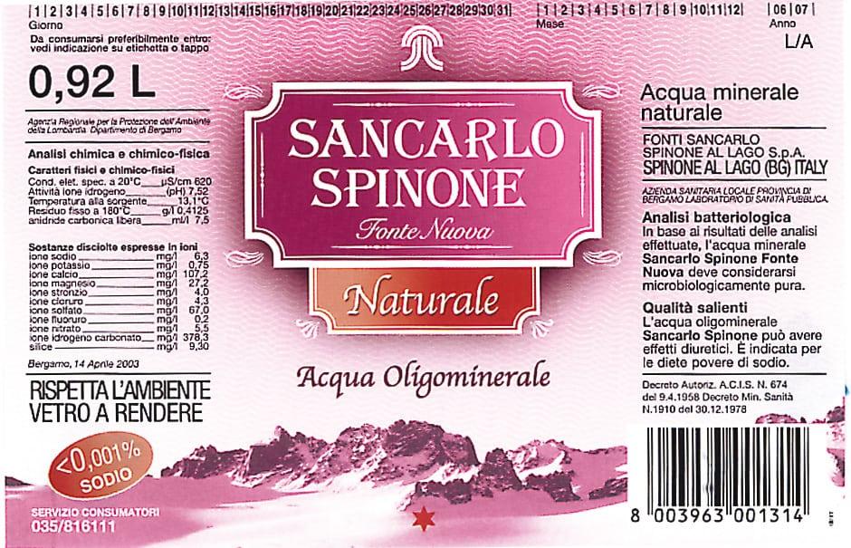 Acqua SanCarlo Spinone Fonte Nuova