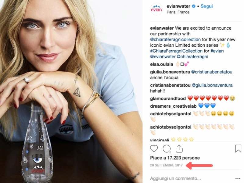 Lancio ufficiale acqua Chiara Ferragni Evian